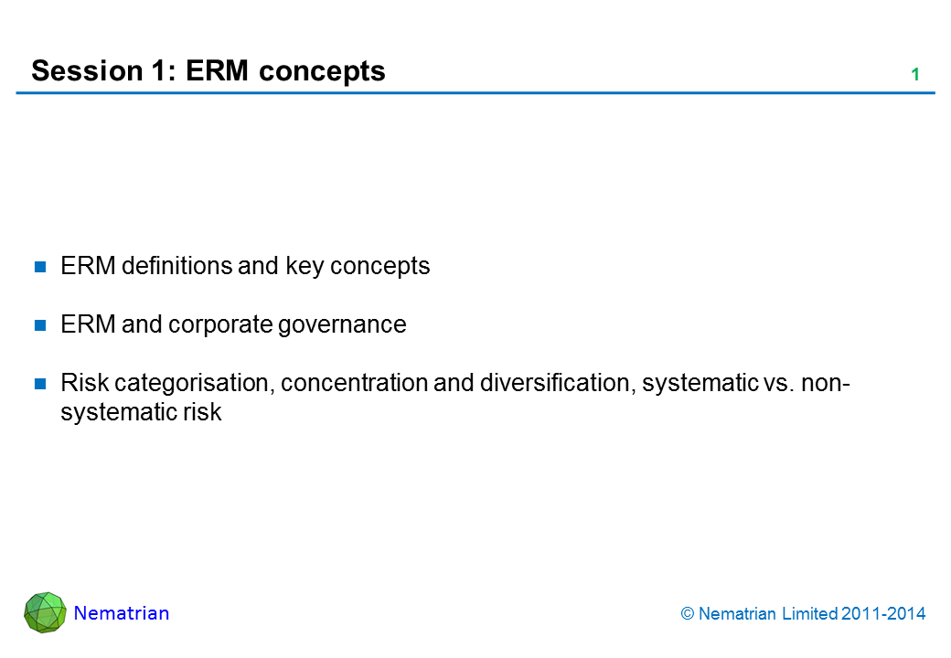 Bullet points include: ERM definitions and key concepts. ERM and corporate governance. Risk categorisation, concentration and diversification, systematic vs. non-systematic risk