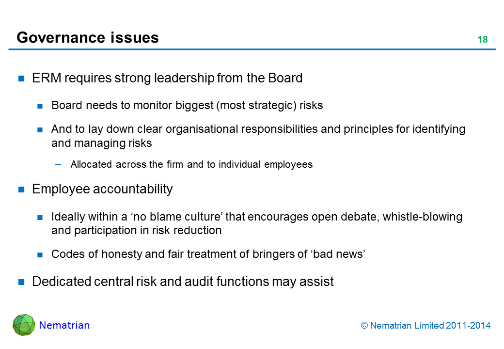 Bullet points include: ERM requires strong leadership from the Board. Board needs to monitor biggest (most strategic) risks. And to lay down clear organisational responsibilities and principles for identifying and managing risks. Allocated across the firm and to individual employees. Employee accountability. Ideally within a 'no blame culture' that encourages open debate, whistle-blowing and participation in risk reduction. Codes of honesty and fair treatment of bringers of 'bad news'. Dedicated central risk and audit functions may assist