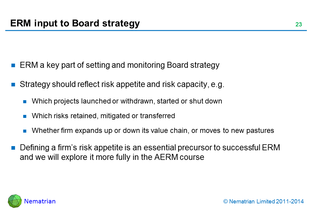 Bullet points include: ERM a key part of setting and monitoring Board strategy. Strategy should reflect risk appetite and risk capacity, e.g. Which projects launched or withdrawn, started or shut down. Which risks retained, mitigated or transferred. Whether firm expands up or down its value chain, or moves to new pastures. Defining a firm's risk appetite is an essential precursor to successful ERM and we will explore it more fully in the AERM course