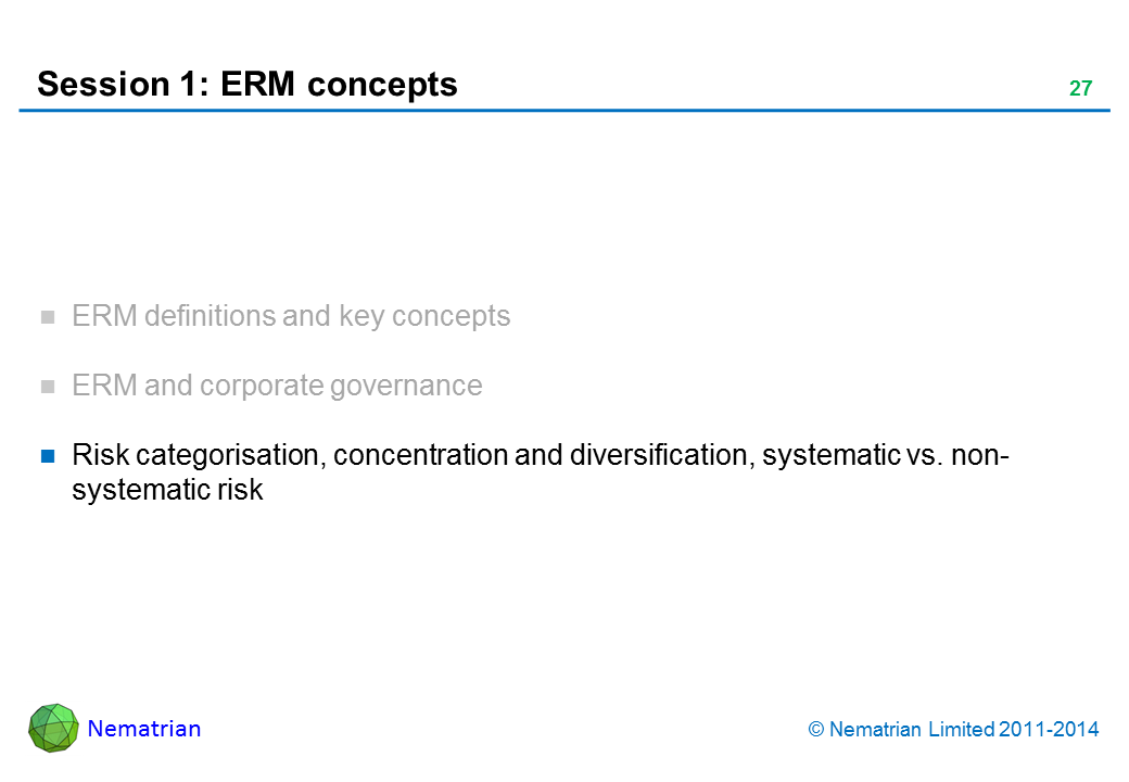 Bullet points include: Risk categorisation, concentration and diversification, systematic vs. non-systematic risk
