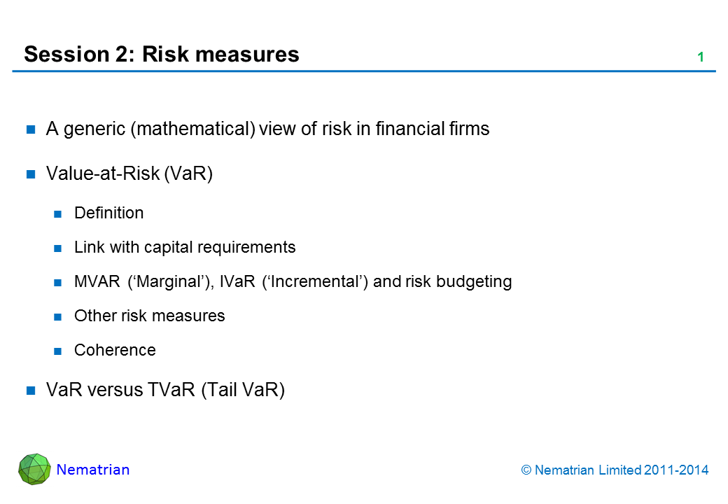 Bullet points include: A generic (mathematical) view of risk in financial firms. Value-at-Risk (VaR). Definition. Link with capital requirements. MVAR ('Marginal'), IVaR ('Incremental') and risk budgeting. Other risk measures. Coherence. VaR versus TVaR (Tail VaR)