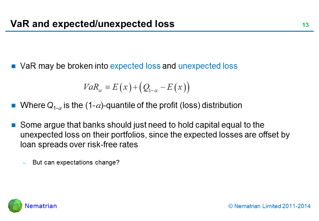 Bullet points include: VaR may be broken into expected loss and unexpected loss. Where Q1-alpha is the (1-alpha)-quantile of the profit (loss) distribution. Some argue that banks should just need to hold capital equal to the unexpected loss on their portfolios, since the expected losses are offset by loan spreads over risk-free rates But can expectations change