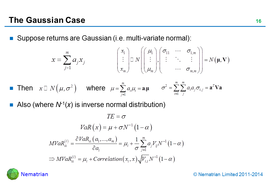 Bullet points include: Suppose losses (-returns) are Gaussian (i.e. multi-variate normal): Then where. Also (where N-1(x) is inverse normal distribution)