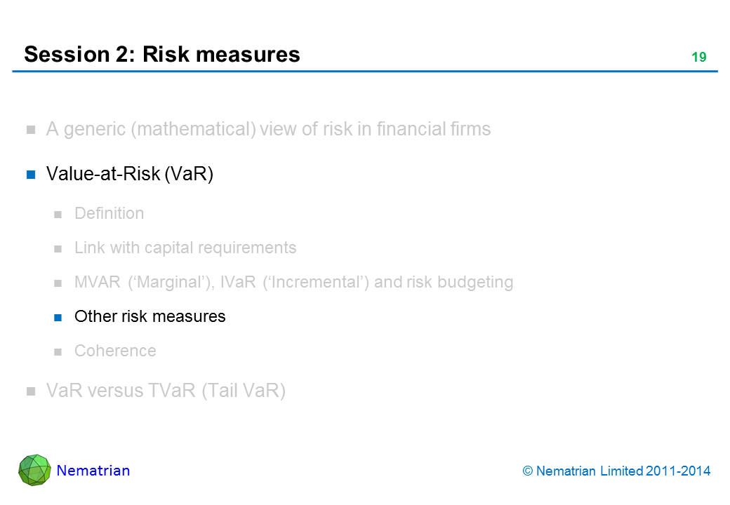 Bullet points include: Value-at-Risk (VaR). Other risk measures