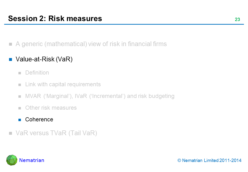 Bullet points include: Value-at-Risk (VaR). Coherence