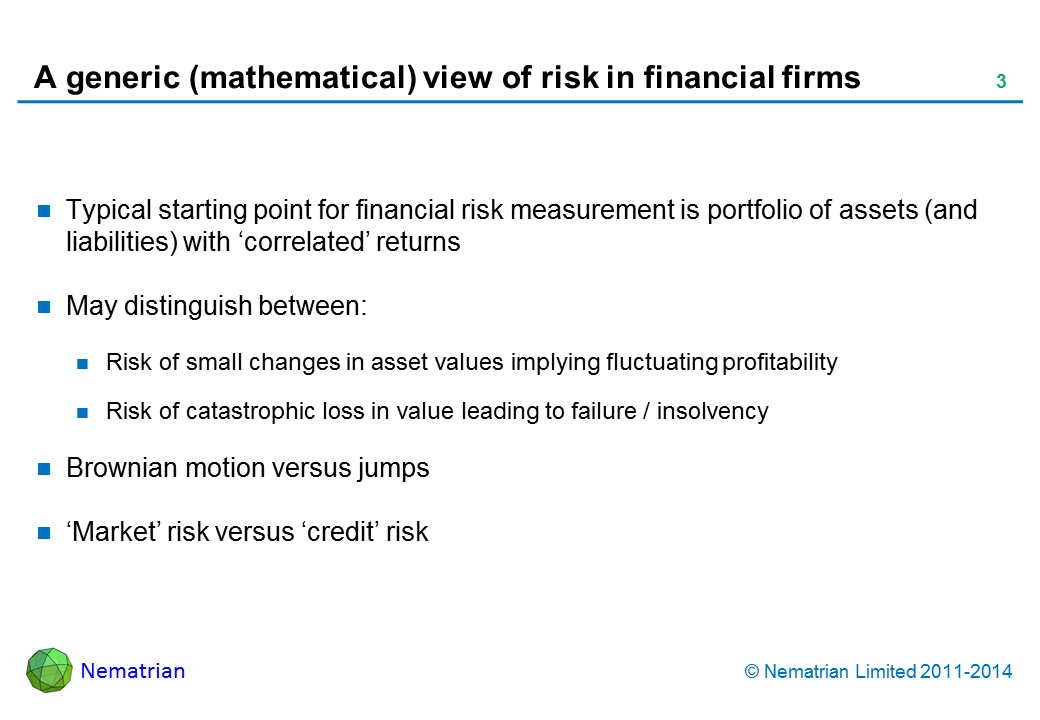 Bullet points include: Typical starting point for financial risk measurement is portfolio of assets (and liabilities) with 'correlated' returns. May distinguish between: Risk of small changes in asset values implying fluctuating profitability, Risk of catastrophic loss in value leading to failure / insolvency, Brownian motion versus jumps. 'Market' risk versus 'credit' risk