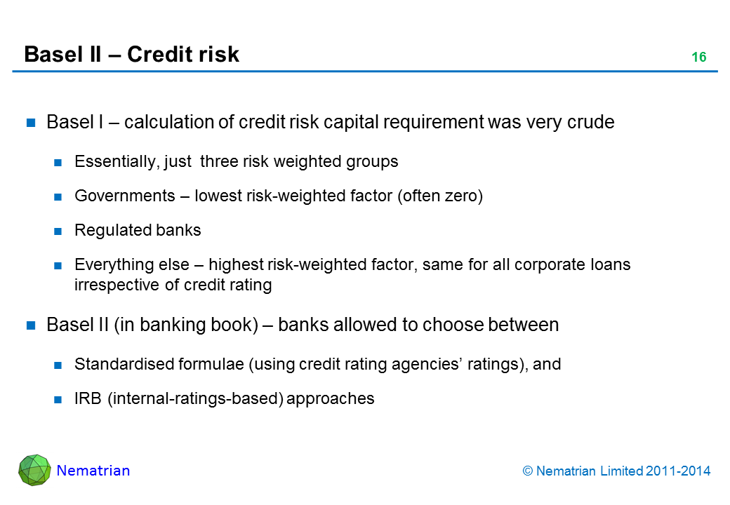 Bullet points include: Basel I – calculation of credit risk capital requirement was very crude. Essentially, just  three risk weighted groups. Governments – lowest risk-weighted factor (often zero). Regulated banks. Everything else – highest risk-weighted factor, same for all corporate loans irrespective of credit rating. Basel II (in banking book) – banks allowed to choose between. Standardised formulae (using credit rating agencies' ratings), and IRB (internal-ratings-based) approaches