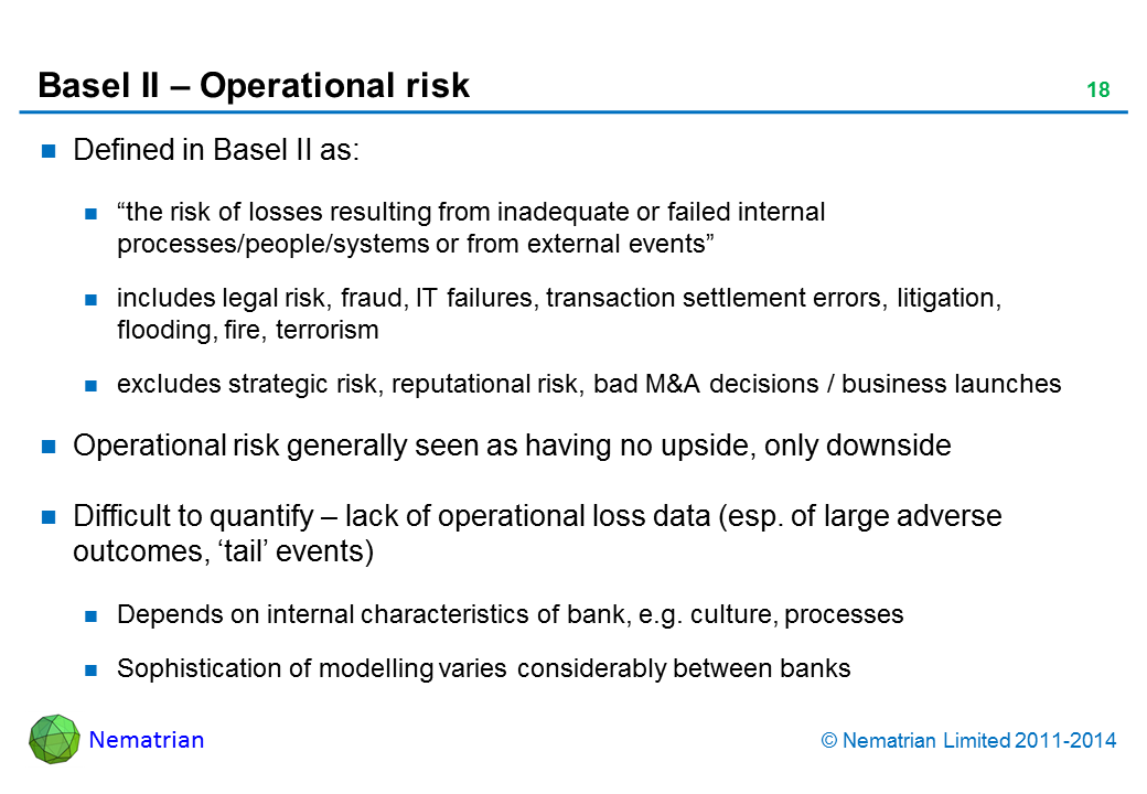 "Bullet points include: Defined in Basel II as: ""the risk of losses resulting from inadequate or failed internal processes/people/systems or from external events"", includes legal risk, fraud, IT failures, transaction settlement errors, litigation, flooding, fire, terrorism, excludes strategic risk, reputational risk, bad M&A decisions / business launches. Operational risk generally seen as having no upside, only downside. Difficult to quantify – lack of operational loss data (esp. of large adverse outcomes, 'tail' events). Depends on internal characteristics of bank, e.g. culture, processes. Sophistication of modelling varies considerably between banks"