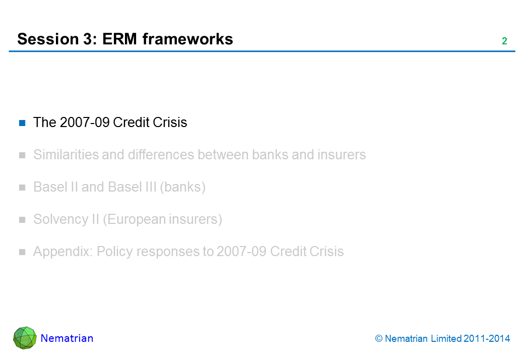 Bullet points include: The 2007-09 Credit Crisis