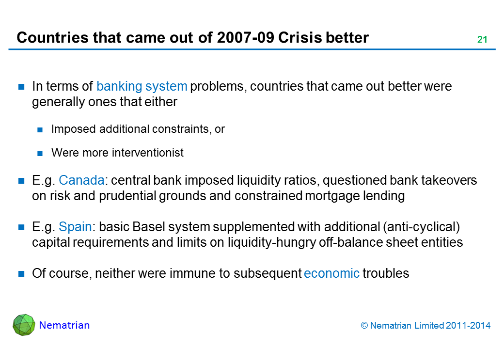 Bullet points include: In terms of banking system problems, countries that came out better were generally ones that either Imposed additional constraints, or Were more interventionist. E.g. Canada: central bank imposed liquidity ratios, questioned bank takeovers on risk and prudential grounds and constrained mortgage lending. E.g. Spain: basic Basel system supplemented with additional (anti-cyclical) capital requirements and limits on liquidity-hungry off-balance sheet entities. Of course, neither were immune to subsequent economic troubles