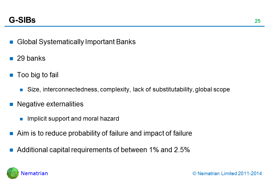 Bullet points include: Global Systematically Important Banks. 29 banks. Too big to fail. Size, interconnectedness, complexity, lack of substitutability, global scope. Negative externalities. Implicit support and moral hazard. Aim is to reduce probability of failure and impact of failure. Additional capital requirements of between 1% and 2.5%
