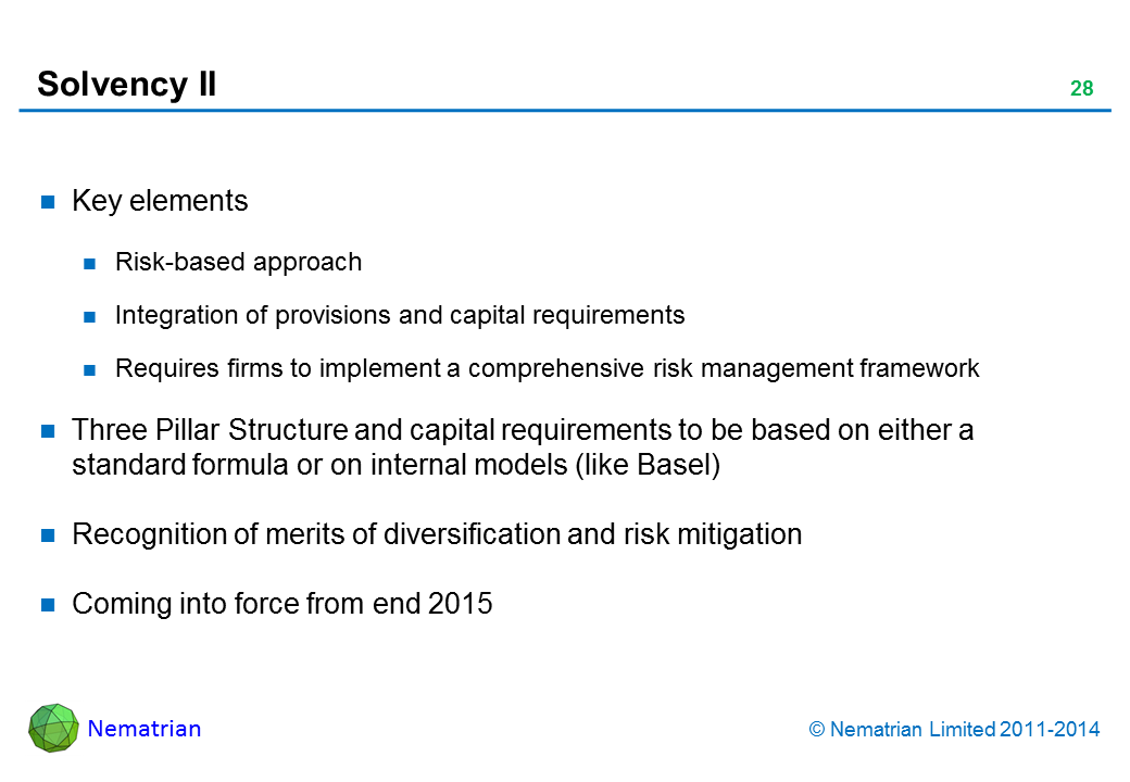 Bullet points include: Key elements. Risk-based approach. Integration of provisions and capital requirements. Requires firms to implement a comprehensive risk management framework. Three Pillar Structure and capital requirements to be based on either a standard formula or on internal models (like Basel). Recognition of merits of diversification and risk mitigation. Coming into force from end 2015