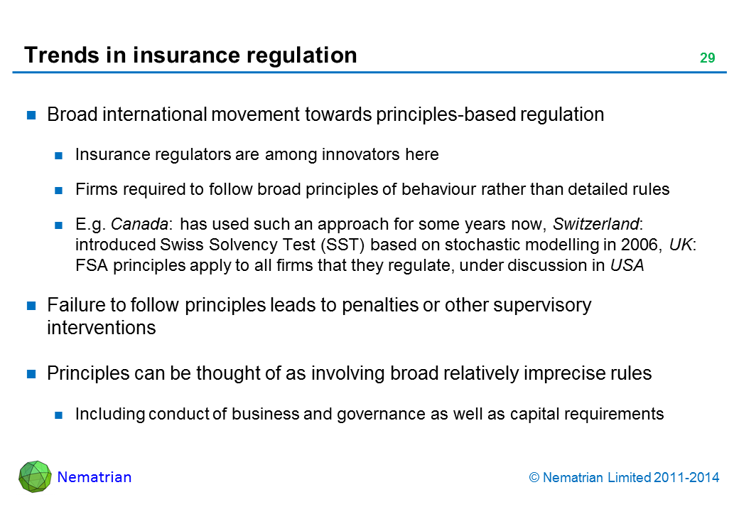 Bullet points include: Broad international movement towards principles-based regulation. Insurance regulators are among innovators here. Firms required to follow broad principles of behaviour rather than detailed rules. E.g. Canada: has used such an approach for some years now, Switzerland: introduced Swiss Solvency Test (SST) based on stochastic modelling in 2006, UK: FSA principles apply to all firms that they regulate, under discussion in USA. Failure to follow principles leads to penalties or other supervisory interventions. Principles can be thought of as involving broad relatively imprecise rules. Including conduct of business and governance as well as capital requirements