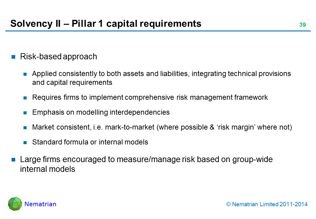 Bullet points include: Risk-based approach. applied consistently to both assets and liabilities, integrating technical provisions and capital requirements. Requires firms to implement comprehensive risk management framework. Emphasis on modelling interdependencies. Market consistent, i.e. mark-to-market (where possible & 'risk margin' where not). Standard formula or internal models. Large firms encouraged to measure/manage risk based on group-wide internal models