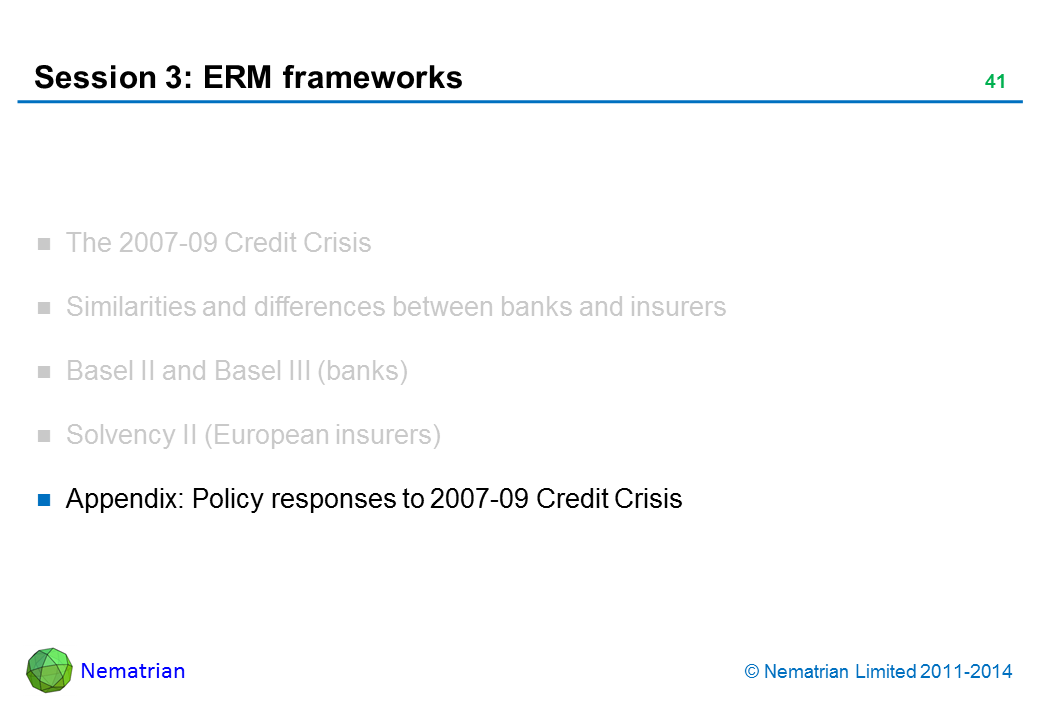 Bullet points include: Appendix: Policy responses to 2007-09 Credit Crisis