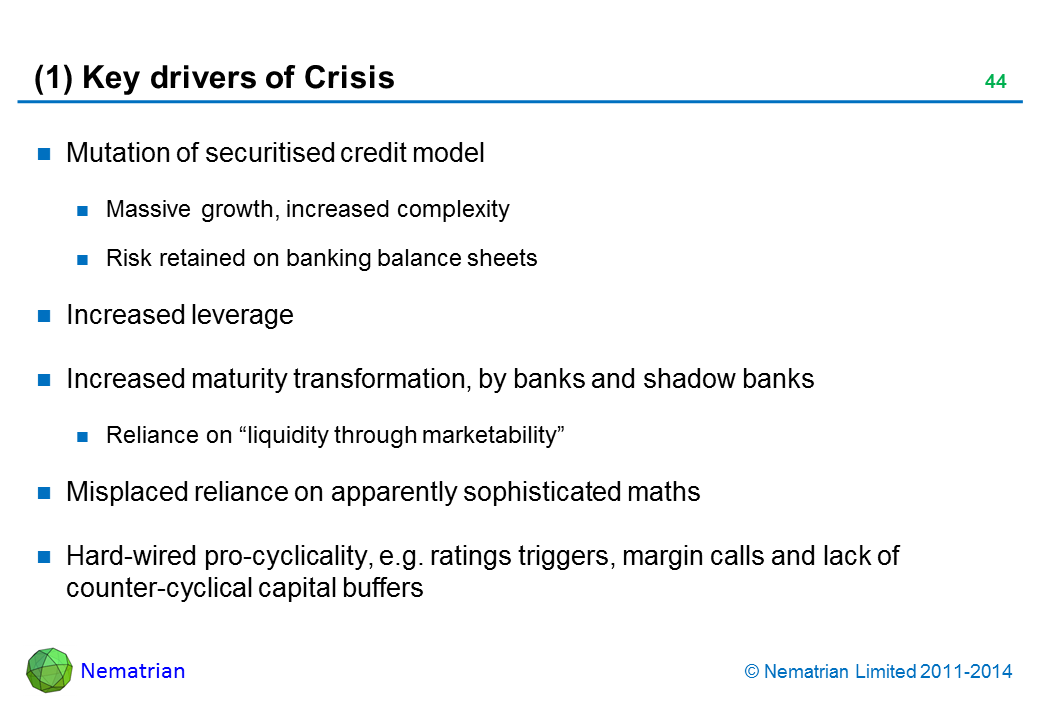 "Bullet points include: Mutation of securitised credit model. Massive growth, increased complexity. Risk retained on banking balance sheets. Increased leverage. Increased maturity transformation, by banks and shadow banks. Reliance on ""liquidity through marketability"". Misplaced reliance on apparently sophisticated maths. Hard-wired pro-cyclicality, e.g. ratings triggers, margin calls and lack of counter-cyclical capital buffers"