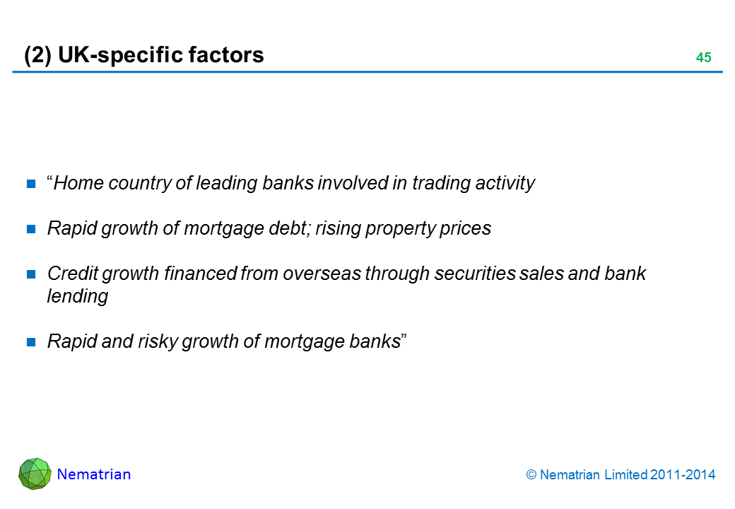 "Bullet points include: ""Home country of leading banks involved in trading activity. Rapid growth of mortgage debt; rising property prices. Credit growth financed from overseas through securities sales and bank lending. Rapid and risky growth of mortgage banks"""