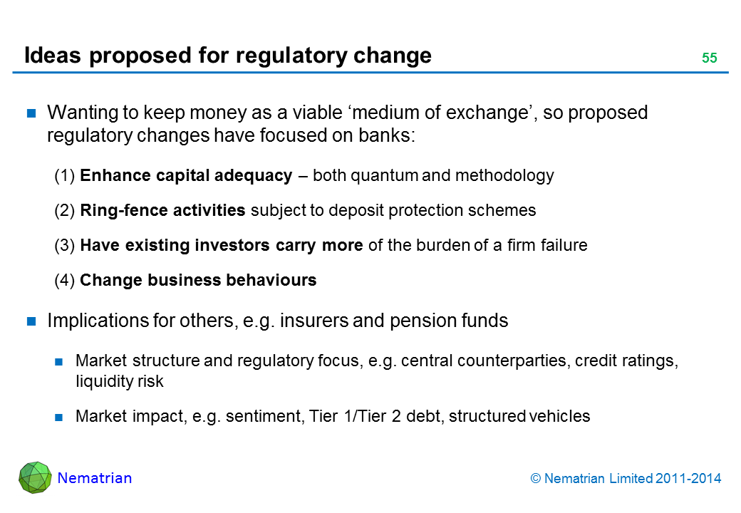 Bullet points include: Wanting to keep money as a viable 'medium of exchange', so proposed regulatory changes have focused on banks: (1) Enhance capital adequacy – both quantum and methodology, (2) Ring-fence activities subject to deposit protection schemes, (3) Have existing investors carry more of the burden of a firm failure, (4) Change business behaviours. Implications for others, e.g. insurers and pension funds. Market structure and regulatory focus, e.g. central counterparties, credit ratings, liquidity risk. Market impact, e.g. sentiment, Tier 1/Tier 2 debt, structured vehicles