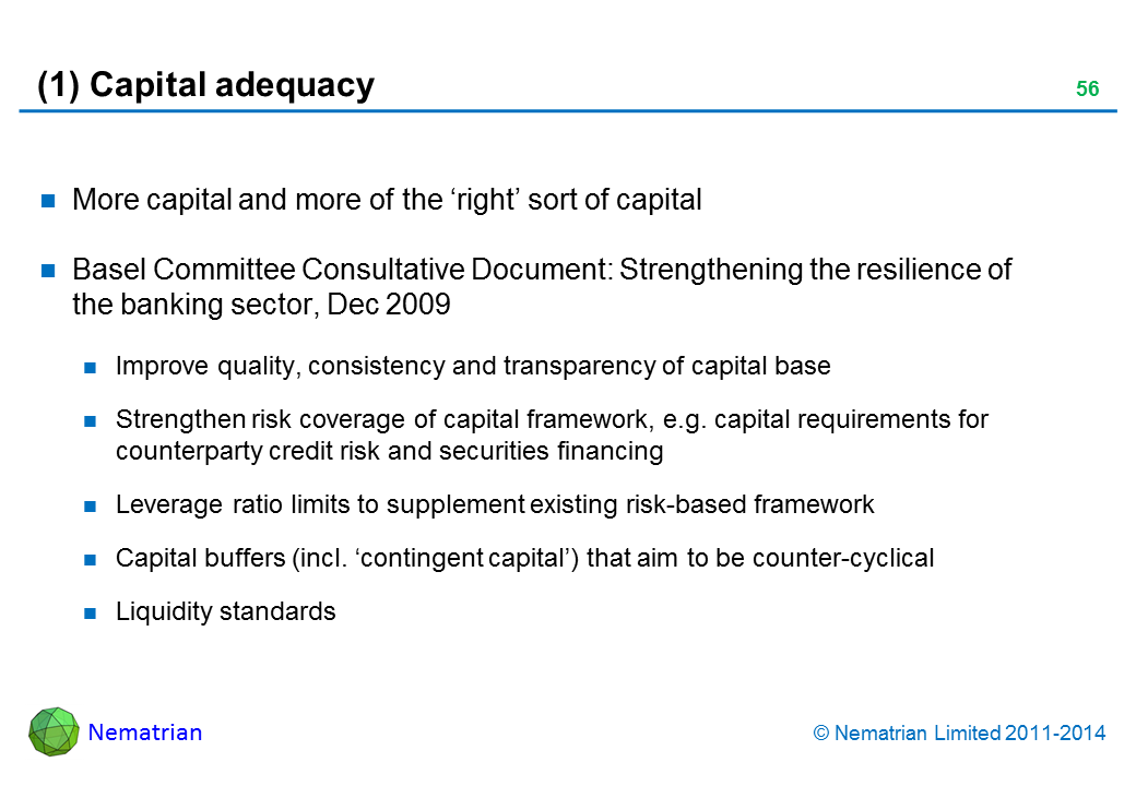 Bullet points include: More capital and more of the 'right' sort of capital. Basel Committee Consultative Document: Strengthening the resilience of the banking sector, Dec 2009. Improve quality, consistency and transparency of capital base. Strengthen risk coverage of capital framework, e.g. capital requirements for counterparty credit risk and securities financing. Leverage ratio limits to supplement existing risk-based framework. Capital buffers (incl. 'contingent capital') that aim to be counter-cyclical. Liquidity standards