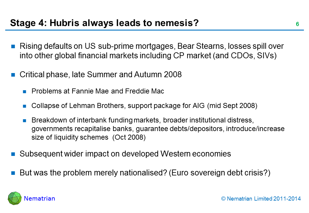 Bullet points include: Rising defaults on US sub-prime mortgages, Bear Stearns, losses spill over into other global financial markets including CP market (and CDOs, SIVs). Critical phase, late Summer and Autumn 2008. Problems at Fannie Mae and Freddie Mac. Collapse of Lehman Brothers, support package for AIG (mid Sept 2008). Breakdown of interbank funding markets, broader institutional distress, governments recapitalise banks, guarantee debts/depositors, introduce/increase size of liquidity schemes  (Oct 2008). Subsequent wider impact on developed Western economies. But was the problem merely nationalised? (Euro sovereign debt crisis?)