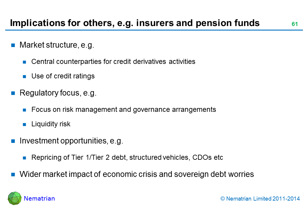 Bullet points include: Market structure, e.g. Central counterparties for credit derivatives activities. Use of credit ratings. Regulatory focus, e.g. Focus on risk management and governance arrangements. Liquidity risk. Investment opportunities, e.g. Repricing of Tier 1/Tier 2 debt, structured vehicles, CDOs etc. Wider market impact of economic crisis and sovereign debt worries