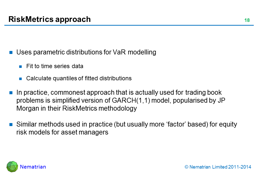 Bullet points include: Uses parametric distributions for VaR modelling. Fit to time series data. Calculate quantiles of fitted distributions. In practice, commonest approach that is actually used for trading book problems is simplified version of GARCH(1,1) model, popularised by JP Morgan in their RiskMetrics methodology. Similar methods used in practice (but usually more 'factor' based) for equity risk models for asset managers