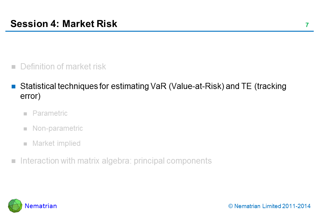 Bullet points include: Statistical techniques for estimating VaR (Value-at-Risk) and TE (tracking error)