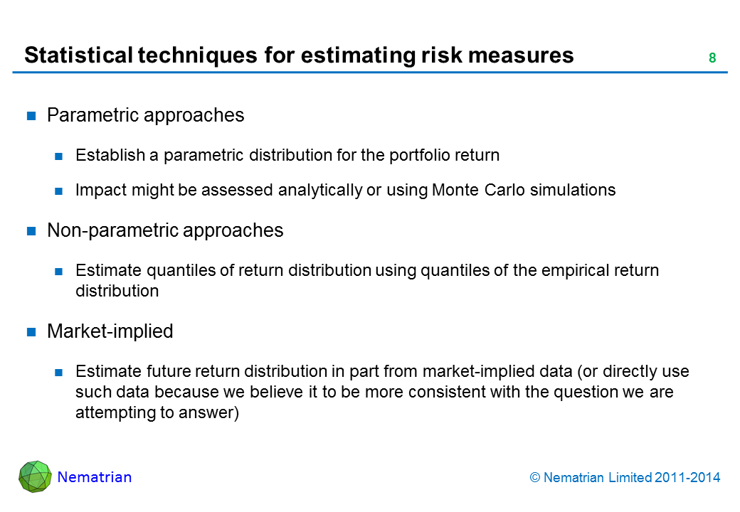 Bullet points include: Parametric approaches. Establish a parametric distribution for the portfolio return. Impact might be assessed analytically or using Monte Carlo simulations. Non-parametric approaches. Estimate quantiles of return distribution using quantiles of the empirical return distribution. Market-implied. Estimate future return distribution in part from market-implied data (or directly use such data because we believe it to be more consistent with the question we are attempting to answer)