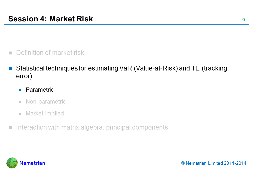Bullet points include: Statistical techniques for estimating VaR (Value-at-Risk) and TE (tracking error). Parametric.