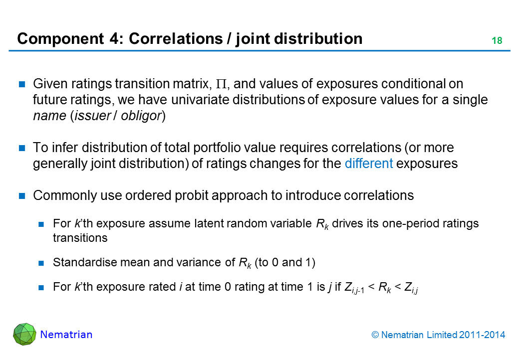 Bullet points include: Given ratings transition matrix, Pi, and values of exposures conditional on future ratings, we have univariate distributions of exposure values for a single name (issuer / obligor). To infer distribution of total portfolio value requires correlations (or more generally joint distribution) of ratings changes for the different exposures. Commonly use ordered probit approach to introduce correlations. For k'th exposure assume latent random variable Rk drives its one-period ratings transitions. Standardise mean and variance of Rk (to 0 and 1). For k'th exposure rated i at time 0 rating at time 1 is j if Zi,j-1 < Rk < Zi,j