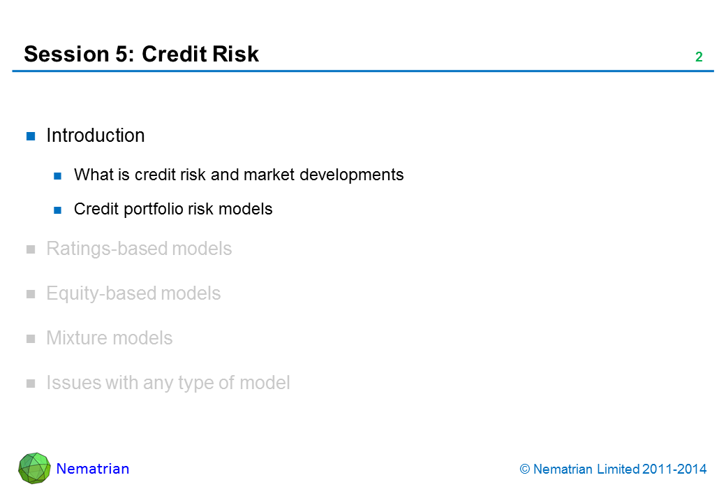 Bullet points include: Introduction. What is credit risk and market developments. Credit portfolio risk models