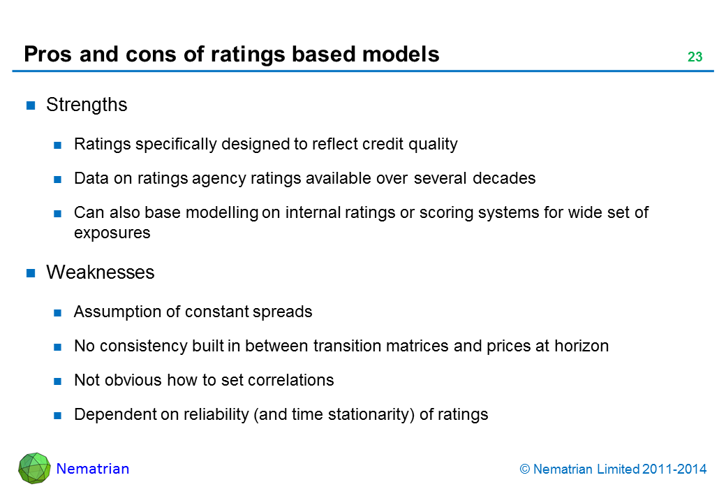 Bullet points include: Strengths. Ratings specifically designed to reflect credit quality. Data on ratings agency ratings available over several decades. Can also base modelling on internal ratings or scoring systems for wide set of exposures. Weaknesses. Assumption of constant spreads. No consistency built in between transition matrices and prices at horizon. Not obvious how to set correlations. Dependent on reliability (and time stationarity) of ratings