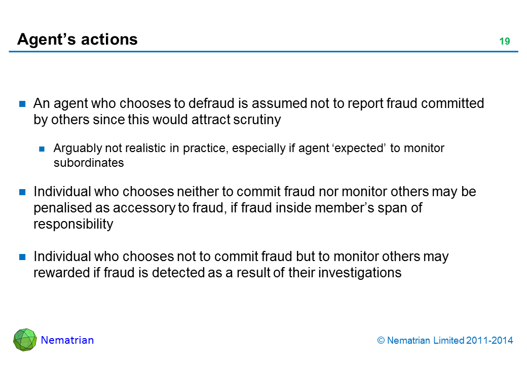 Bullet points include: An agent who chooses to defraud is assumed not to report fraud committed by others since this would attract scrutiny. Arguably not realistic in practice, especially if agent 'expected' to monitor subordinates. Individual who chooses neither to commit fraud nor monitor others may be penalised as accessory to fraud, if fraud inside member's span of responsibility. Individual who chooses not to commit fraud but to monitor others may rewarded if fraud is detected as a result of their investigations