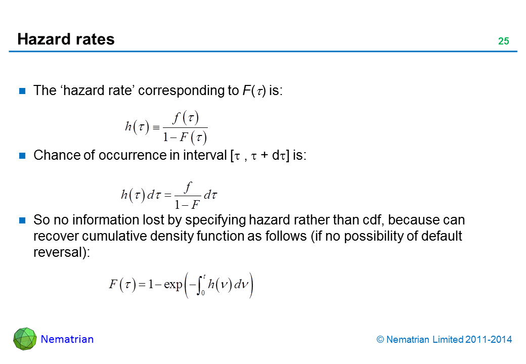 Bullet points include: The 'hazard rate' corresponding to F(tau) is: Chance of occurrence in interval [tau , tau + d tau] is: So no information lost by specifying hazard rather than cdf, because can recover cumulative density function as follows (if no possibility of default reversal):