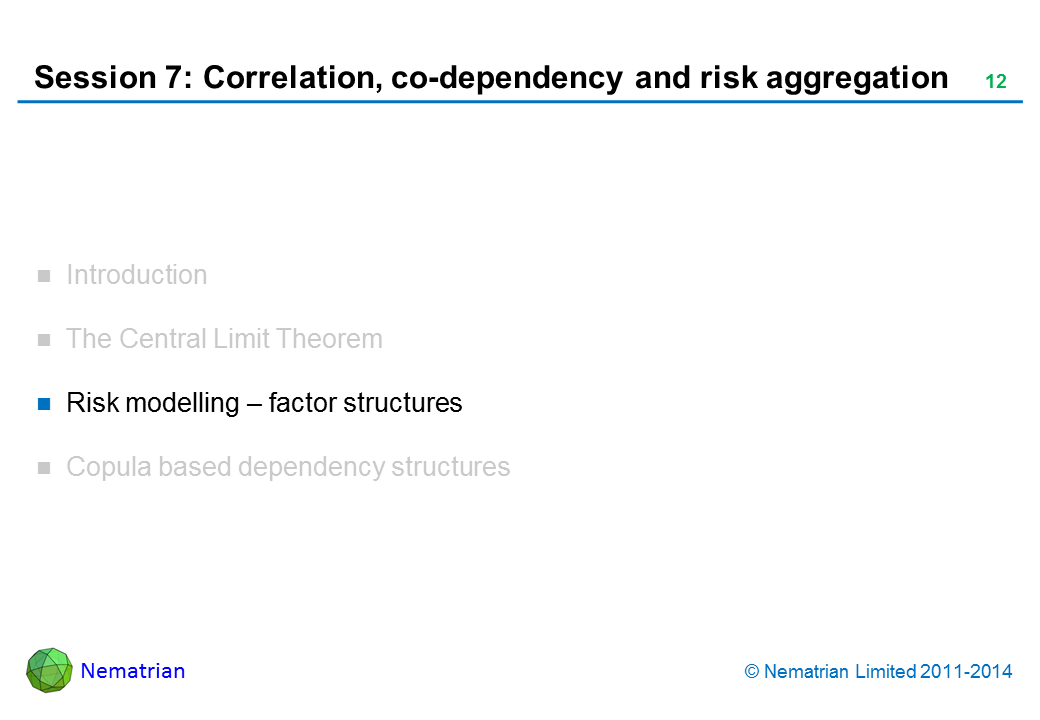 Bullet points include: Risk modelling – factor structures