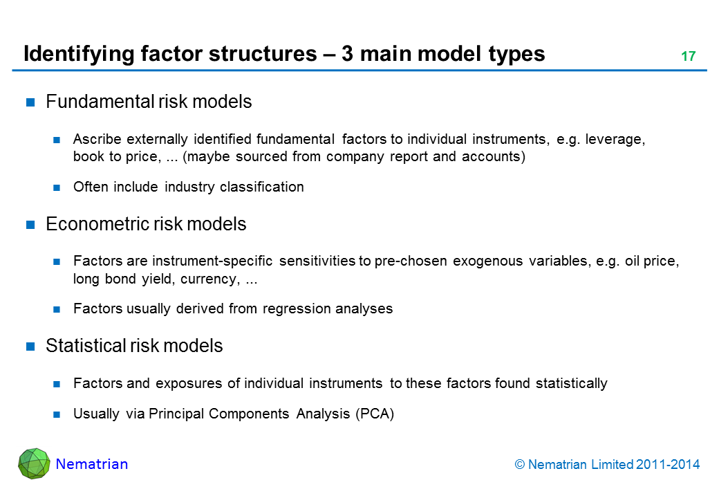 Bullet points include: Fundamental risk models. Ascribe externally identified fundamental factors to individual instruments, e.g. leverage, book to price, ... (maybe sourced from company report and accounts). Often include industry classification. Econometric risk models. Factors are instrument-specific sensitivities to pre-chosen exogenous variables, e.g. oil price, long bond yield, currency, ... Factors usually derived from regression analyses. Statistical risk models. Factors and exposures of individual instruments to these factors found statistically. Usually via Principal Components Analysis (PCA)