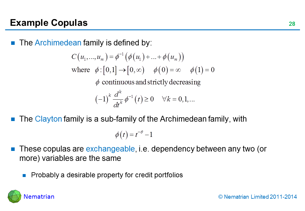 Bullet points include: The Archimedean family is defined by: The Clayton family is a sub-family of the Archimedean family, with. These copulas are exchangeable, i.e. dependency between any two (or more) variables are the same. Probably a desirable property for credit portfolios