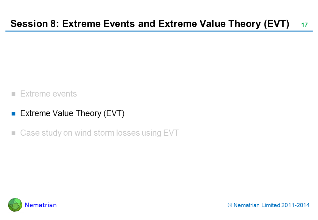 Bullet points include: Extreme Value Theory (EVT)