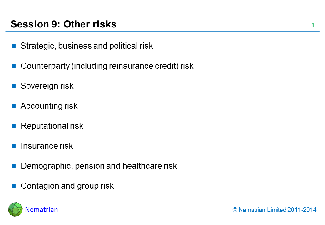 Bullet points include: Strategic, business and political risk. Counterparty (including reinsurance credit) risk. Sovereign risk. Accounting risk. Reputational risk. Insurance risk. Demographic, pension and healthcare risk. Contagion and group risk
