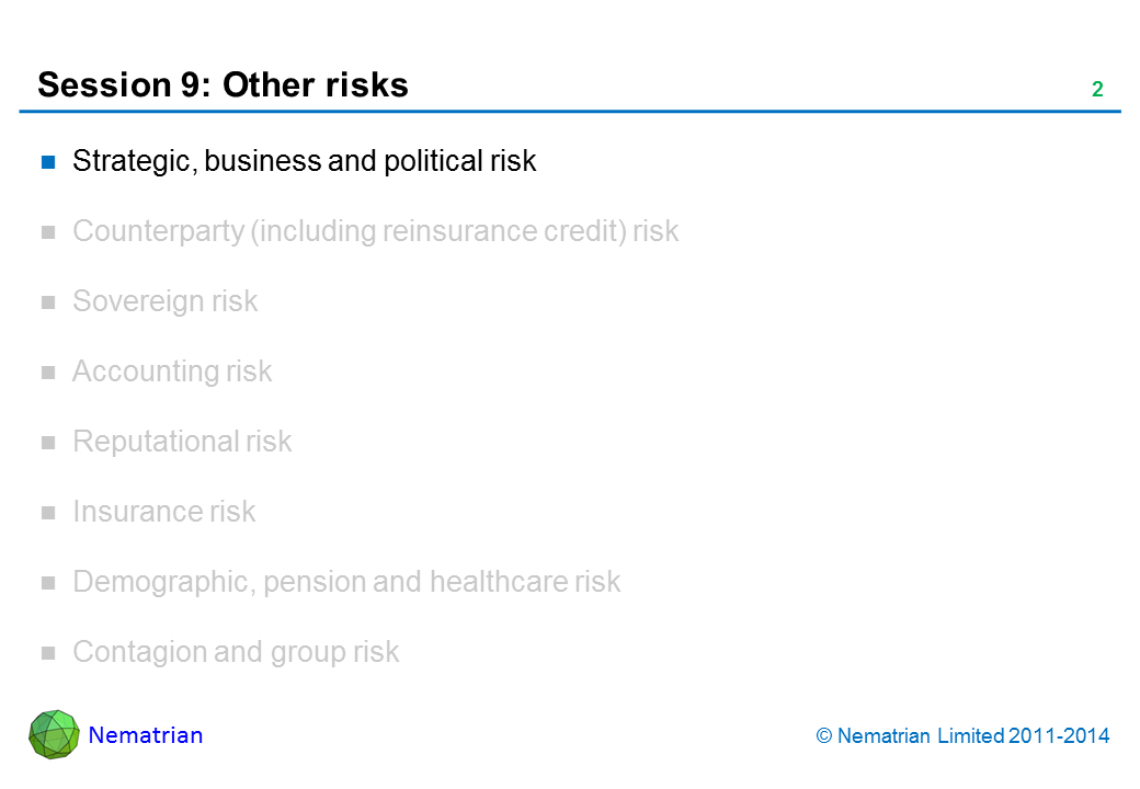 Bullet points include: Strategic, business and political risk