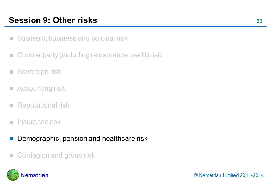Bullet points include: Demographic, pension and healthcare risk