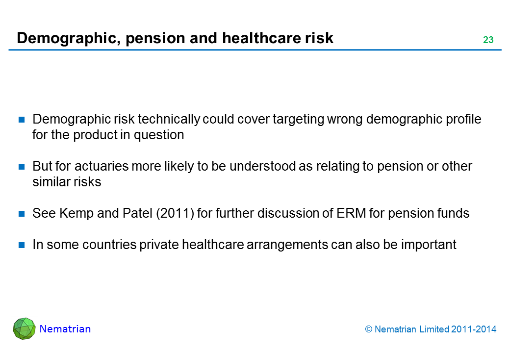 Bullet points include: Demographic risk technically could cover targeting wrong demographic profile for the product in question. But for actuaries more likely to be understood as relating to pension or other similar risks. See Kemp and Patel (2011) for further discussion of ERM for pension funds. In some countries private healthcare arrangements can also be important