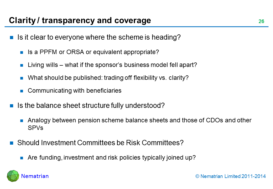 Bullet points include: Is it clear to everyone where the scheme is heading? Is a PPFM or ORSA or equivalent appropriate? Living wills – what if the sponsor's business model fell apart? What should be published: trading off flexibility vs. clarity? Communicating with beneficiaries. Is the balance sheet structure fully understood? Analogy between pension scheme balance sheets and those of CDOs and other SPVs. Should Investment Committees be Risk Committees? Are funding, investment and risk policies typically joined up?