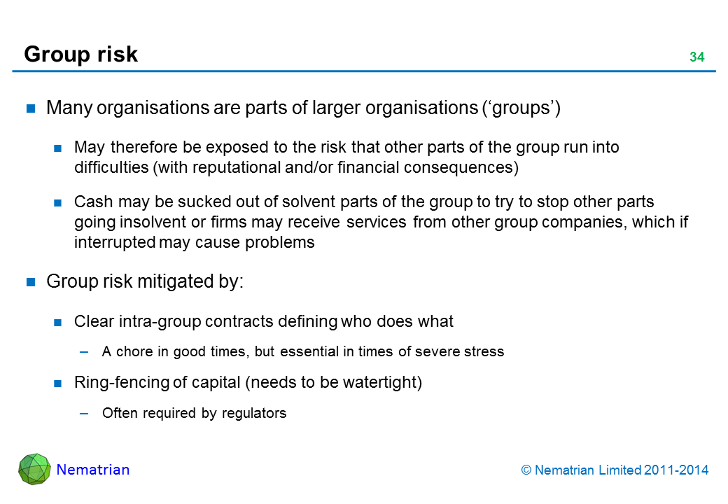 Bullet points include: Many organisations are parts of larger organisations ('groups'). May therefore be exposed to the risk that other parts of the group run into difficulties (with reputational and/or financial consequences). Cash may be sucked out of solvent parts of the group to try to stop other parts going insolvent or firms may receive services from other group companies, which if interrupted may cause problems. Group risk mitigated by: Clear intra-group contracts defining who does what. A chore in good times, but essential in times of severe stress. Ring-fencing of capital (needs to be watertight). Often required by regulators