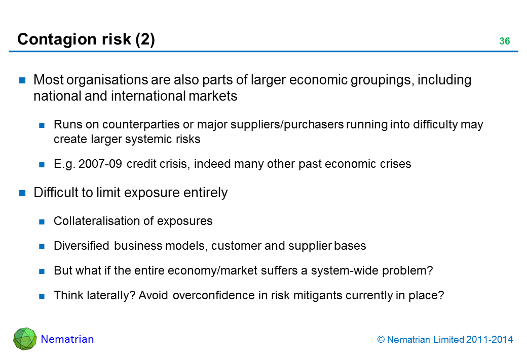 Bullet points include: Most organisations are also parts of larger economic groupings, including national and international markets. Runs on counterparties or major suppliers/purchasers running into difficulty may create larger systemic risks. E.g. 2007-09 credit crisis, indeed many other past economic crises. Difficult to limit exposure entirely. Collateralisation of exposures. Diversified business models, customer and supplier bases. But what if the entire economy/market suffers a system-wide problem? Think laterally? Avoid overconfidence in risk mitigants currently in place?