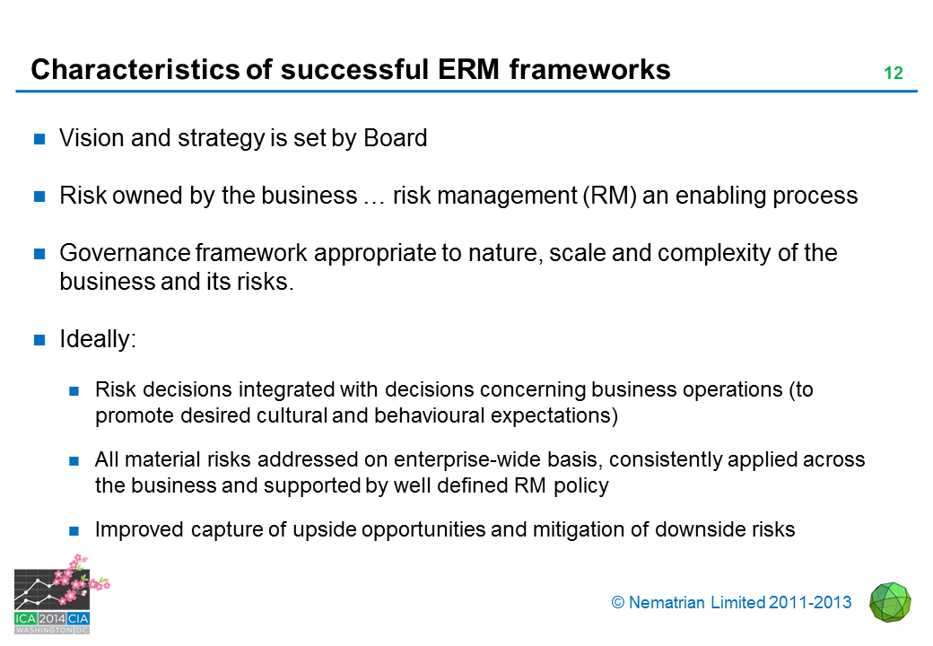Bullet points include: Vision and strategy is set by Board. Risk owned by the business … risk management (RM) an enabling process. Governance framework appropriate to nature, scale and complexity of the business and its risks. Ideally: Risk decisions integrated with decisions concerning business operations (to promote desired cultural and behavioural expectations). All material risks addressed on enterprise-wide basis, consistently applied across the business and supported by well defined RM policy. Improved capture of upside opportunities and mitigation of downside risks