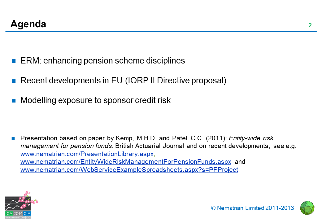 Bullet points include: ERM: enhancing pension scheme disciplines. Recent developments in EU (IORP II Directive proposal). Modelling exposure to sponsor credit risk. Presentation based on paper by Kemp, M.H.D. and Patel, C.C. (2011): Entity-wide risk management for pension funds. British Actuarial Journal and on recent developments, see e.g. www.nematrian.com/PresentationLibrary.aspx, www.nematrian.com/EntityWideRiskManagementForPensionFunds.aspx and www.nematrian.com/WebServiceExampleSpreadsheets.aspx?s=PFProject