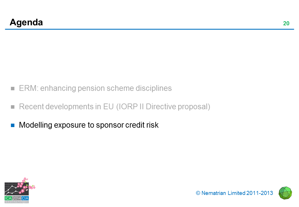 Bullet points include: Modelling exposure to sponsor credit risk