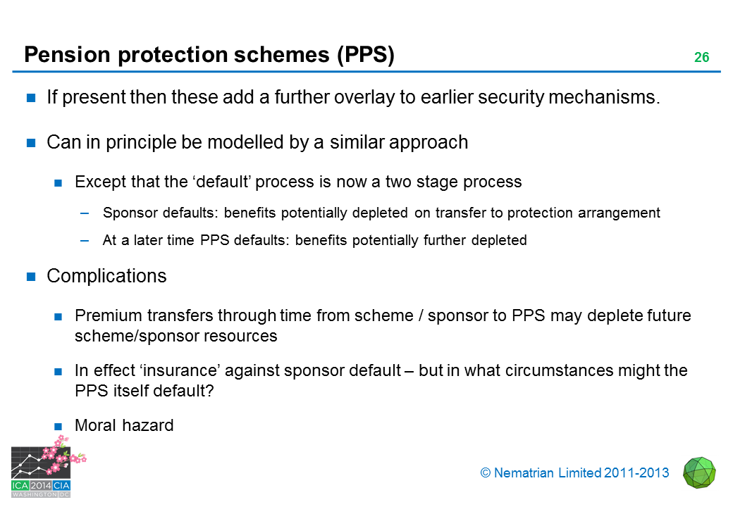 Bullet points include: If present then these add a further overlay to earlier security mechanisms. Can in principle be modelled by a similar approach. Except that the 'default' process is now a two stage process. Sponsor defaults: benefits potentially depleted on transfer to protection arrangement. At a later time PPS defaults: benefits potentially further depleted. Complications. Premium transfers through time from scheme / sponsor to PPS may deplete future scheme/sponsor resources. In effect 'insurance' against sponsor default - but in what circumstances might the PPS itself default? Moral hazard