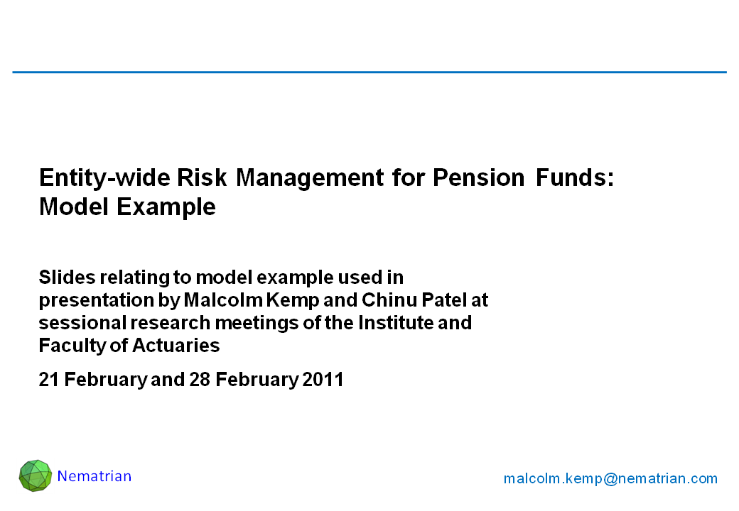 Bullet points include: Entity-wide Risk Management for Pension Funds. Slides relating to model example used in presentation by Malcolm Kemp and Chinu Patel at sessional research meetings of the Institute and Faculty of Actuaries. 21 February and 28 February 2011